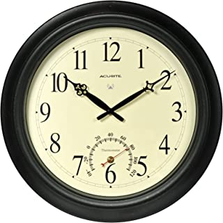 AcuRite 50308 18-Inch Aged Metal Indoor/Outdoor Atomic Clock with Thermometer