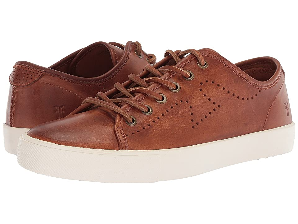 Frye Brett Perf Logo Low (Cognac Washed Antique Pull Up) Men