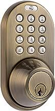 (antiquebrass) - Milocks Df-02aq Electronic Keyless Entry Touchpad Deadbolt Door Lock, Antique Br