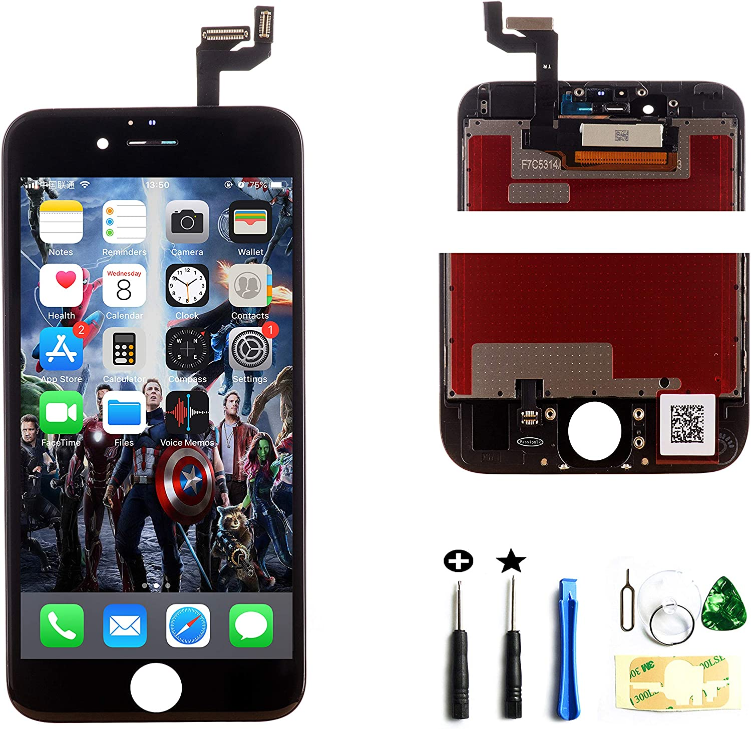 ZTR Replacement LCD Touch Screen Digitizer Display Assembly for iPhone 6S 4.7 Inch 7 Pieces Tool Set Black