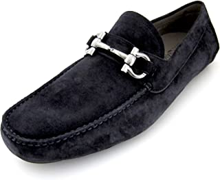 Salvatore Ferragamo Parigi Mens Blue Suede Loafers Shoes Made in Italy