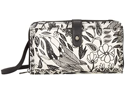Sakroots Artist Circle Large Smartphone Crossbody (Black Peace Birds) Clutch Handbags