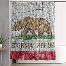 jhgjfdgdf Shower Curtain with 7-12 Hooks 72 X 72 Inch Grudge Stone Painted US California Flag Water-Repellent Rustproof Bath Curtain Durable Polyester Shower Curtain Liner
