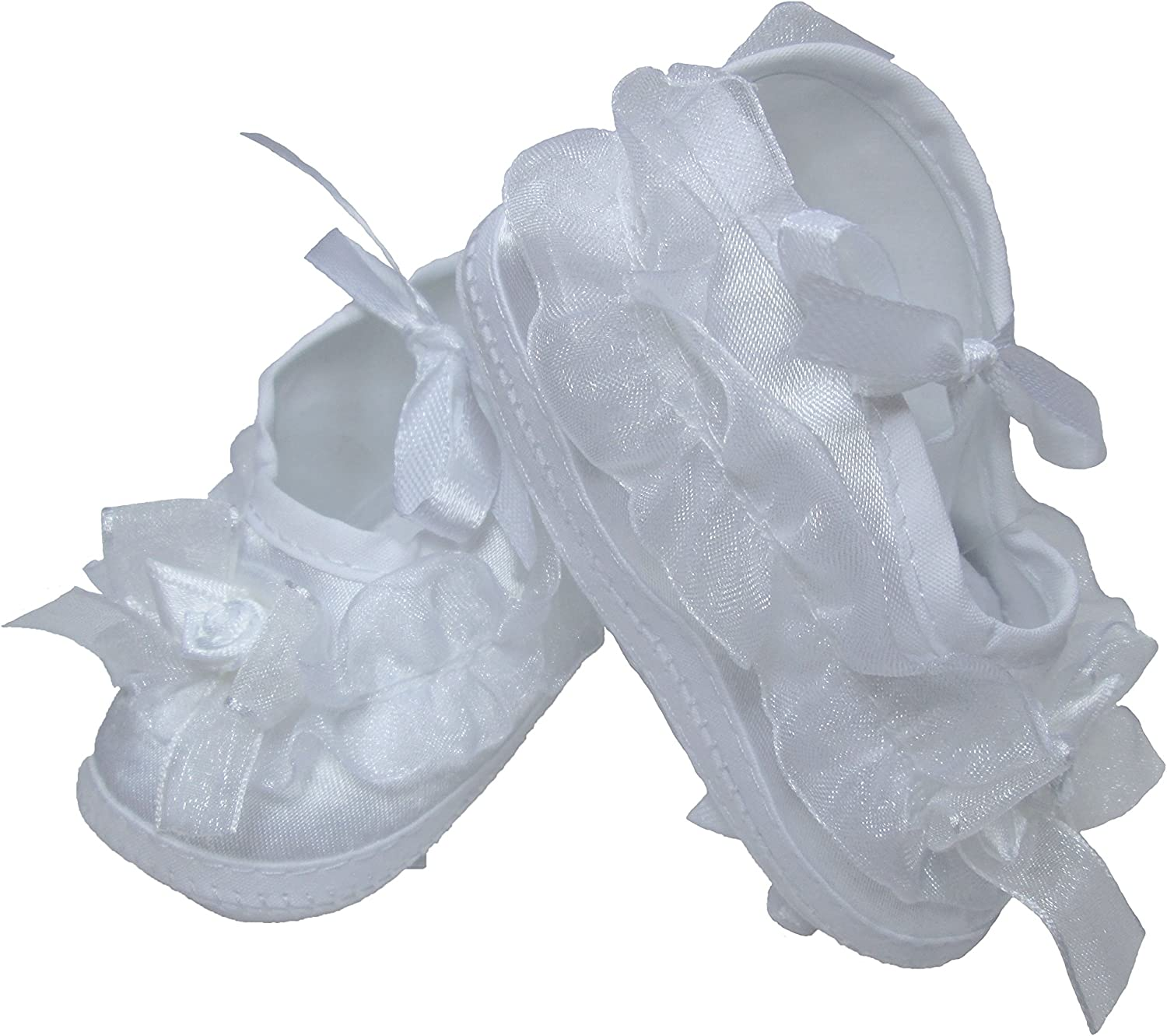 Girls Organza Trim Bootie Ideal for Christening Baptism or Any Special Occasion