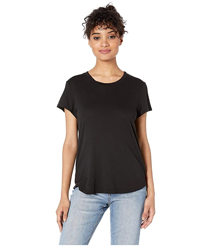 Splendid  Abbie Short Sleeve Modal Jersey Crew Tee (Black) Womens T Shirt