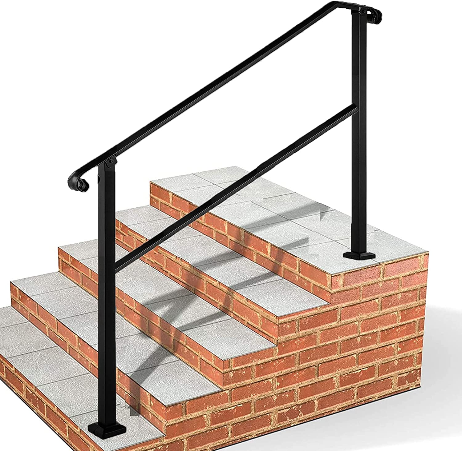 Buy Outdoor Stair Railing,Black Wrought Iron Handrail,20 Step ...
