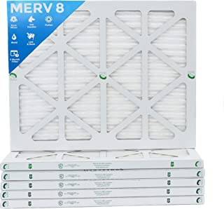 20x25x1 Merv 8 Pleated AC Furnace Air Filters.  6 PACK.  Actual Size: 19-1/2 x 24-1/2 x 7/8
