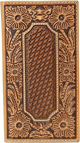 Floral and Basket Weave Embossed Rodeo Wallet