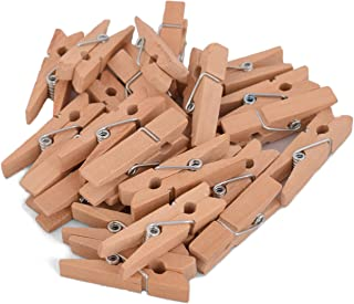 100-Pack of 1 3/8 Inch (35mm) Small Clothespins Wood. Mini Natural Wooden Clothes pins for Home School Arts Crafts Decor DIY Screen, Tiny Clothespins Photo Paper Peg Pin Craft Clips