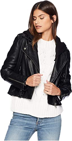 Black Vegan Leather Jacket with Hooded Detail in Neo