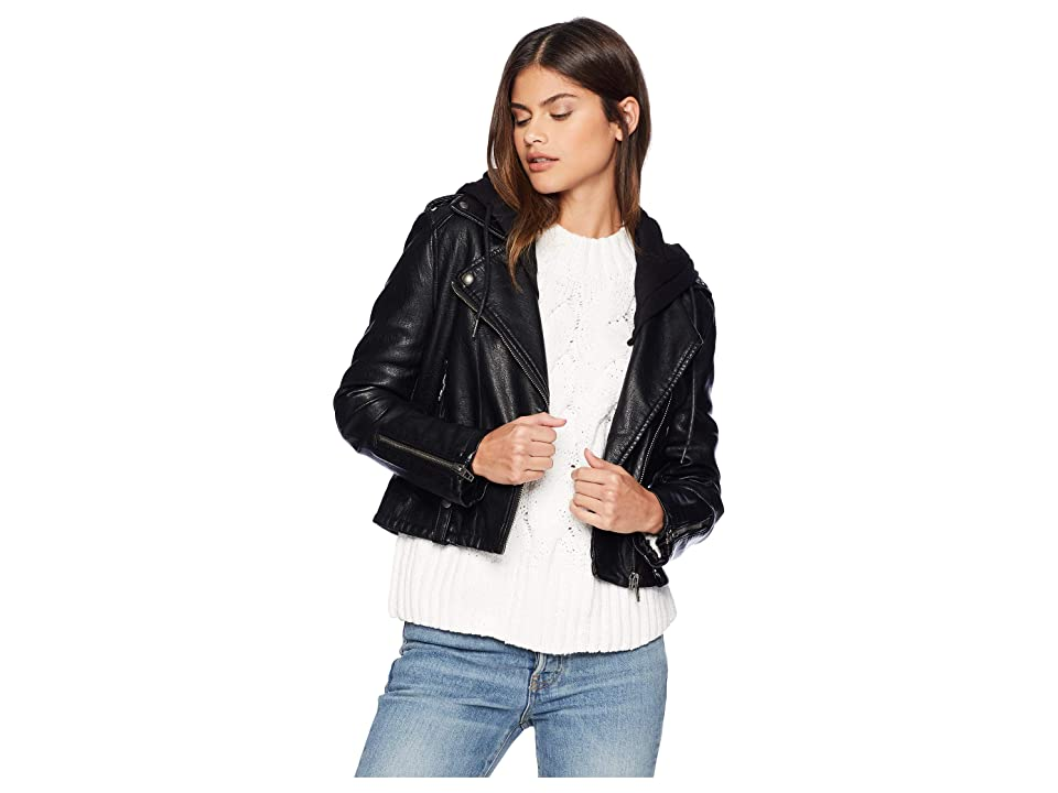 Blank NYC Black Vegan Leather Jacket with Hooded Detail in Neo (Neo) Women