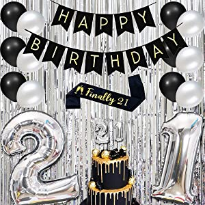 JOYMEMO 21st Birthday Decorations Silver and Black with Number Foil Balloons, Foil Curtain, Sash and Balloons Cake Topper
