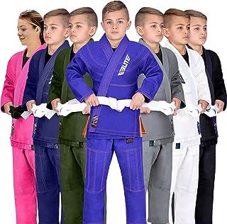 Elite Sports Kids BJJ GI, Youth IBJJF Children's Brazilian Jiujitsu Gi Kimono W/Preshrunk Fabric & Free Belt (See Special Sizing Guide)
