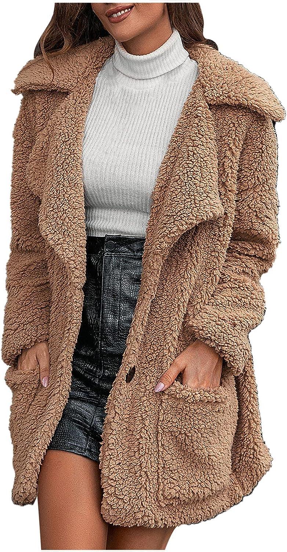 Women's Winter Sherpa Fleece Jacket Button Fuzzy Faux Fur Teddy