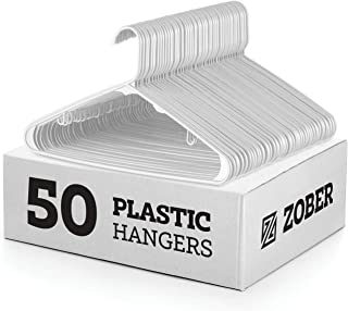 Best White Standard Plastic Hangers (50 Pack) Durable Tubular Shirt Hanger Ideal for Laundry & Everyday Use, Slim & Space Saving, Heavy Duty Clothes Hanger for Coats, Pants, Dress, Etc. Hangs up to 5.5 lbs Review