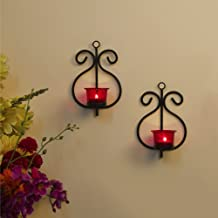 Homesake® Set of 2 Decorative Wall Sconce/Candle Holder with Red Glass and Free T-Light Candles