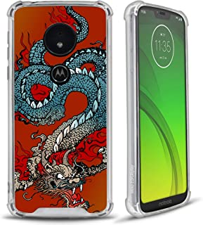 CasesOnDeck Fitted Case Compatible with (Motorola Moto G7/ Moto G7 Plus) Full Body Clear Bumper Case Slim Fitted Unique Cover (Tattoo Dragon)