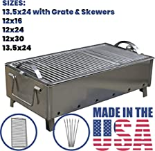 BAS Metal Stainless Steel Charcoal Grill Folding Portable Kebab Shish Barbecue BBQ Outdoor Cooking Camping (XXL Grate & Skewers 13.5x24)