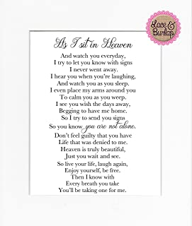 8x10 UNFRAMED PRINT As I Sit in Heaven Poem/Print Sign/Memorial Remembrance In Loving Memory Wall Décor Cursive White
