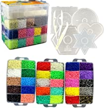 LITTLE VISIONARY 30,000 Fuse Beads - Deluxe Hama Bead Kit Includes 6 Pegboards, Tweezers, Ironing Paper, Travel Case (30,000)