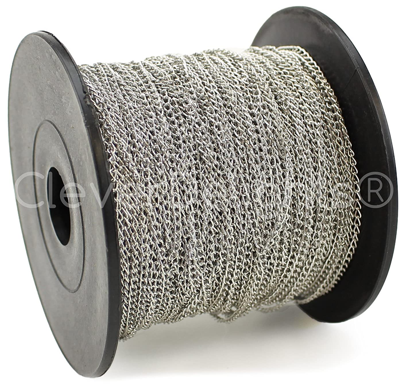 CleverDelights Curb Chain Spool - 2x3mm Link - Antique Silver (Platinum) Color - 330 Feet - Bulk Chain Roll