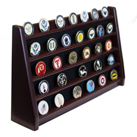 DECOMIL - 5 Rows Shelf Challenge Coin Holder Display Casino Chips Holder Solid Wood - Cherry Finish