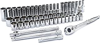 SATA 56-Piece 1/2-Inch Drive SAE and Metric Socket Set, Standard and Deep Sizes, with Ratchet and Other Accessories - ST09008U