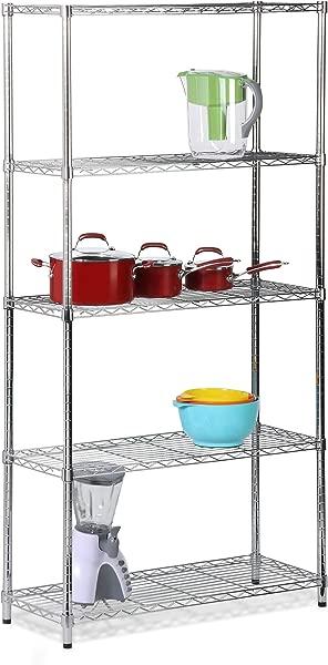 Honey Can Do SHF 01443 Adjustable Industrial Storage Shelving Unit 200 Pounds Per Shelf Chrome 5 Tier 36Lx14Wx72H