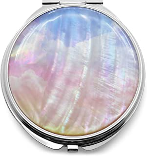 Makeup Compact Pocket Mirror Mother of Pearl Metal Round Double Sided Folding Magnify Clouds Color Gradation