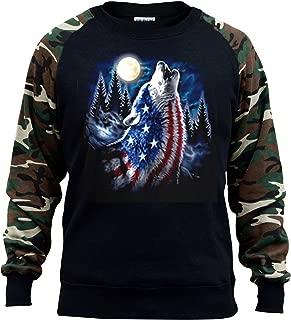 Men's American Flag Wolf Moon Black/Camo Raglan Baseball Sweatshirt Black