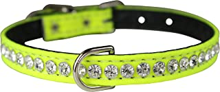 "OmniPet Majestic Crystal Pet Collar, 3/8"" x 10"", Neon Yellow"
