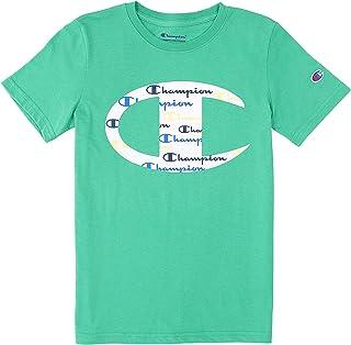 Champion Boys' Short-Sleeve C Logo with Script T-Shirt (Green Myth)
