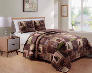 Rustic Western Lodge Quilted Plaid Reversible Bedspread Set with Wildlife Imagery of Grizzly Bear Elk Buck and Pine Trees ...