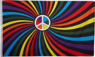 US Flag Store Printed Polyester Rainbow Peace Swirl Flag, 3 by 5-Feet