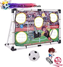 Portzon Portable Soccer Goal Set,Soccer Goals for Backyard,Includes Target Shot Net with 5 Shooting Zones, Soccer Ball, Inflatable Pump for Indoor Outdoor Training Practice(47 X 31inch)