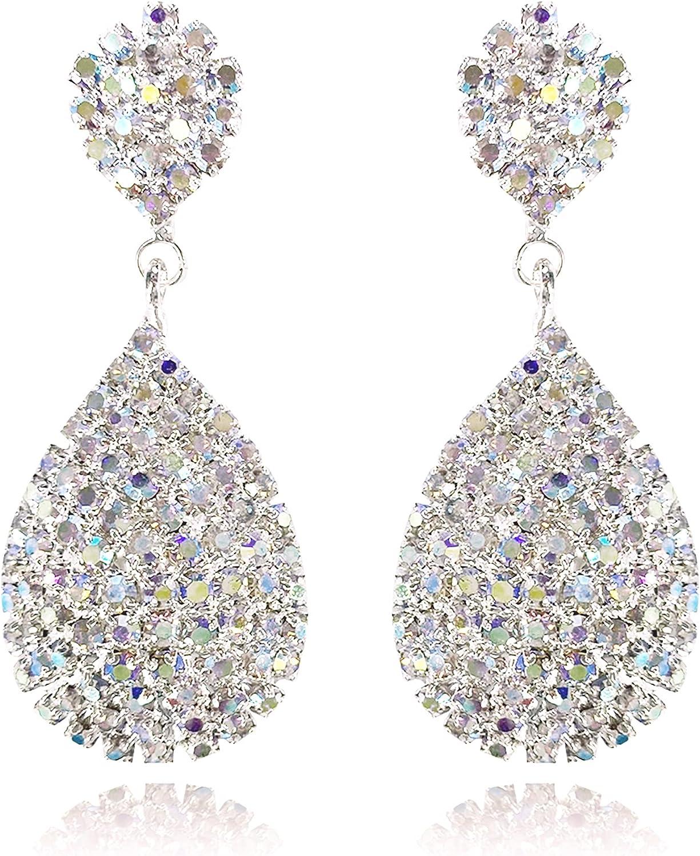 Uncle J Women's Drop & Dangle Cubic Zirconia Teardrop Vintage Bridal Earrings, Rhinestone Statement Dangling Earrings for Women, Wedding, Gifts