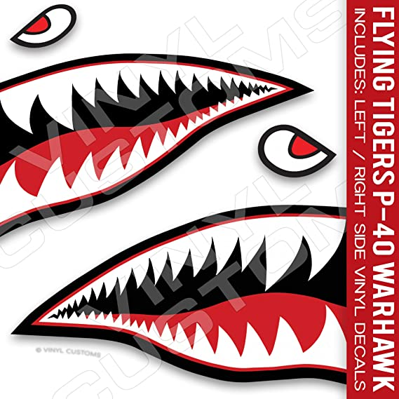 2-18 x 42  WWII Flying Tigers P-40 Warhawk Nose Art Decals