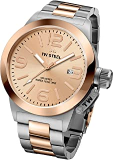 TW Steel Canteen Unisex Quartz Watch with Rose Gold Dial Analogue Display and Grey Stainless Steel Rose Gold Plated Bracel...
