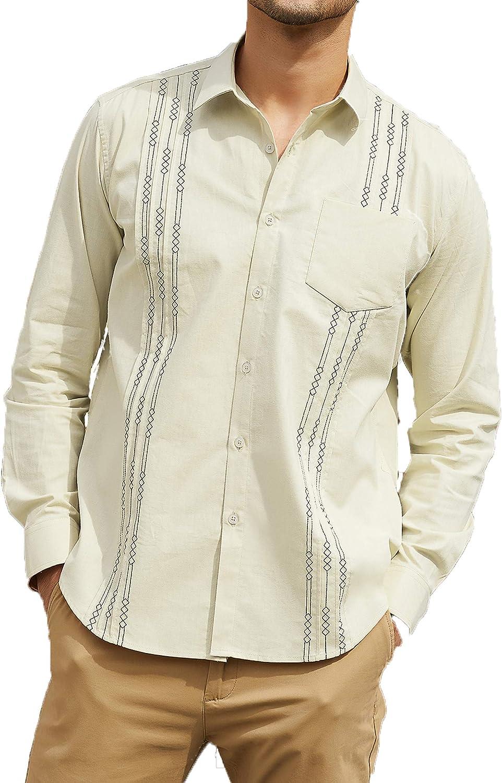 COOFANDY Embroidered Guayabera Shirts for Men Standard Fit Cuban Dress Shirts, Light Khaki, Large