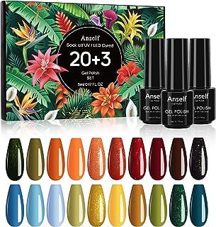 Esmaltes Permanentes para UñasAnself 23 color Uñas Semipermanente Soak Off Gel Nail Polish Set + Capa Base + Capa Superio...