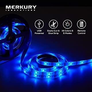 Merkury Innovations 5050 RGB LED Strip Lights with Remote Control 6 Ft w/ 60 LED Lights LED Light Strip LED Rope Lights LED Tape Light Under Cabinet Lighting Lights for Bedroom TV Vanity