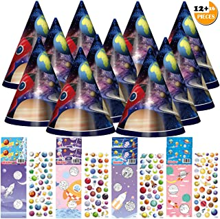 Outer Space Party Favors for Kid Girl Boy, DIY Craft Set w/28PCS Colorful Hat Coloring Page & 3D Sticker Fun Celebration Kit for Birthday/Cosplay, Great as Handmade Decor & Gift, Group Game & Activity