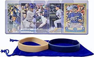 Christian Yelich Baseball Cards (5) ASSORTED Milwaukee Brewers Trading Card and Wristbands Gift Bundle