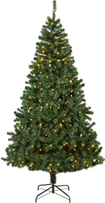 Nearly Natural 8ft. Northern Tip Artificial Christmas Tree with 450 Clear LED Lights, Green
