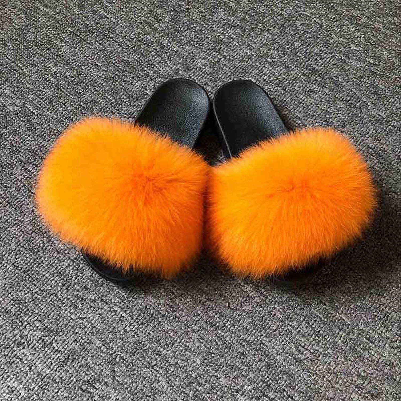 Blingbling-honored High end Real Fox Fur Slipper Women Slides Sliders Fashion Spring Summer Autumn Fluffy Fur Lady S6018