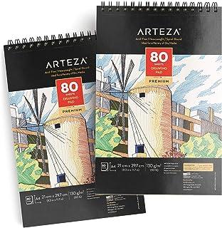 Arteza Grand cahier dessin A4 (21,0 x 29,7 cm | 2 carnets avec 160 feuilles en tout | Carnet croquis de 80 pages | Papier ...