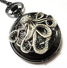 Large Octopus Jet Black Pocket Watch Necklace Pendant - Vintage Victorian Style - Steampunk Retro Pocketwatch Sea Monster Charm