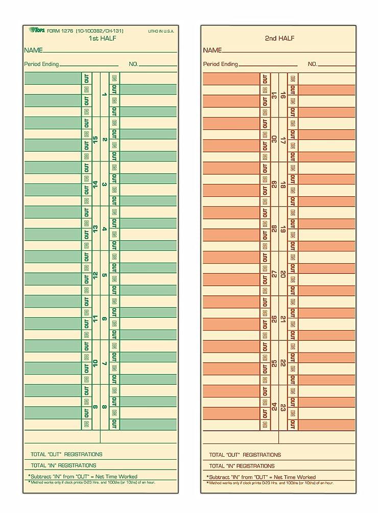 ネット批判するグラマートップス時間カード、半月ごと、両面、3?–?1?/ 2?