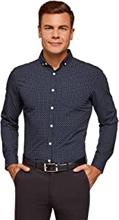 oodji Ultra Hombre Camisa Estampada Entallada