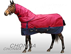 CHONMA 2520D 280G Winter Waterproof Red Detach-A-Neck Turnout Rugs Horse Blanket with Hood